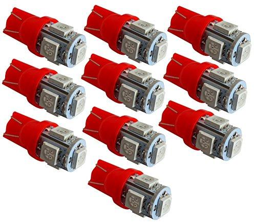 AERZETIX: 10x Ampoule T10 W5W 12V 5LED SMD Rouge veilleuses éclairage intérieur Plaque d'immatriculation seuils de Porte plafonnier Pieds Lecteur de Carte Coffre Compartiment Moteur