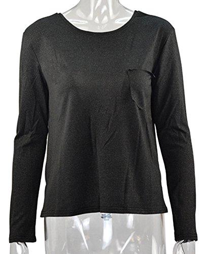 Minetom Femme Printemps Eté Chemise à Manches Longues Loose Fit Blouses Dos Nu Haut Sexy Col Rond Sweat-Shirts Pull Noir