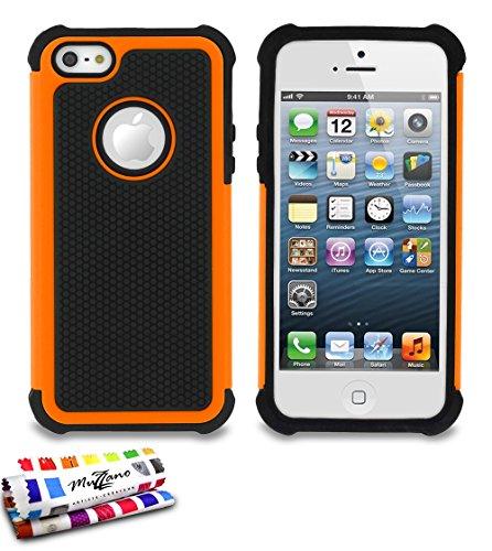 Flip-Case APPLE IPHONE 5 [CroCoChic Premium] [Rosa] von MUZZANO + STIFT und MICROFASERTUCH MUZZANO® GRATIS - Das ULTIMATIVE, ELEGANTE UND LANGLEBIGE Schutz-Case für Ihr APPLE IPHONE 5 Orange