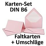 50 Sets // großes Kartenpaket mit 50 Faltkarten & 50 Umschlägen DIN B6 - Lachs-Rosa // GERIPPT!