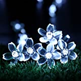 Flower Solar String Lights - RECESKY 50 LED 7m Solar Powered Christmas String Lights - Fairy Blossom Lighting for Outdoor and Indoor Decor - Garden, Patio, Yard, Lawn, House, Party, Garland, Xmas Tree Decoration (White)