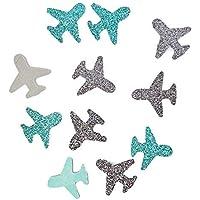 Confettis Avion Papier Pailleté Argent et Turquoise, Décoration Voyage, Vacances, 100 Pièces