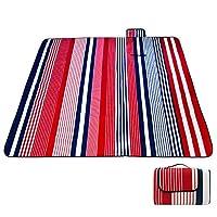 Lovestoryeu 150 x 200 cm (59 x 78.7 in) Picnic Blanket Waterproof Backing Outdoor Beach Picnic Rug Mat Handle Lattice