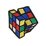 Parche Bordado de Emporium con diseño de Cubo de Rubik para Planchar en Chaquetas, Ropa de Jeans, Small