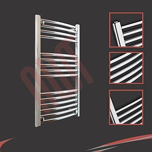 500mm (w) x 800mm (h) - Radiateur sèche-serviettes incurvé chromé Barre Horizontale Diamètre: 22mm, Bar Modèle: 4 + 5 + 6
