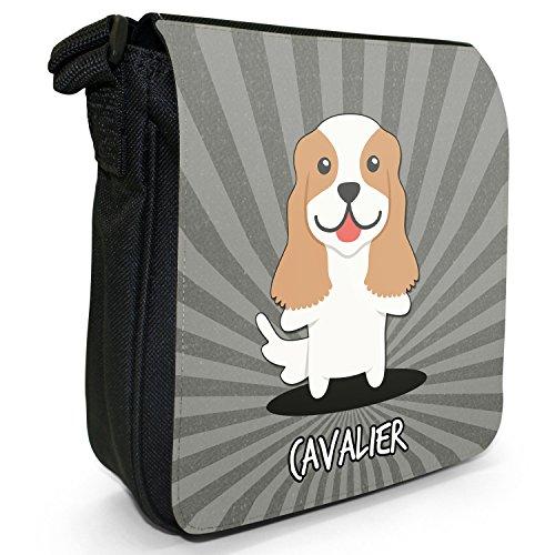 Englische Cartoon-Hunde Kleine Schultertasche aus schwarzem Canvas Cavalier King Charles Spaniel