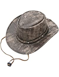 28aeafaafb582 Wombat The Wilds Crushable Brown Cow Hide Distressed Leather Hat Chin Strap  Mens Womens