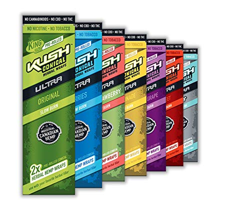 MIX-Packungen von KUSH Conical Herbal Wraps Ultra Slow Burn aus Hanf - ohne Tabak! 7 Packungen