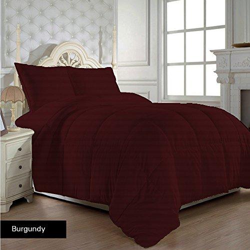 Scala Premium Qualität Ägyptische Baumwolle Fadenzahl 600Tröster mit Spannbetttuch Set 200GSM UK Double Burgund Rot gestreift 100% Baumwolle 600tc -
