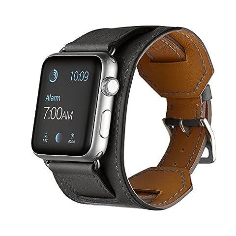 EloBeth for Apple Watch Armband Series 1 Series 2,Cuff Lederarmband Replacement Wrist Band Watchband Strap Watchband Uhrband Uhrenarmband Erstatzband für 42mm iWatch 2015,Grau