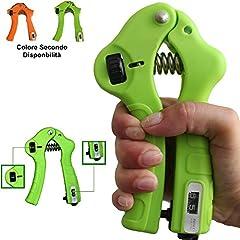 Idea Regalo - Attrezzo ginnico Hand Grip a Molla con forza regolabile per allenamento mano avambraccio esercizi potenziamento muscoli con contatore analogico - Colore Casuale Verde o Arancio