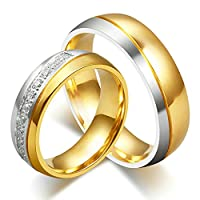 Stainless Steel Silver Gold Plated Two Tone CZ Wedding Ring Set For Couple Women Size P 1/2 & Men Size T 1/2