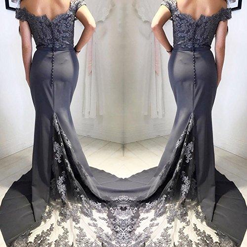 Lange Meerjungfrau Abschlussball Kleid weg von den Schulter Abend Partei Kleidern für Frauen Spitze Brautjunfer Kleider Style13 Lila