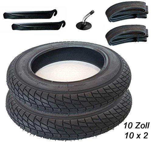 2 Stück Reifen+Schlauch mit Winkelventil 10 x 2 Plus Montagehebel