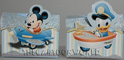 Bauletto portaconfetti porta confetti originale disney topolino & paperino assortiti con sfondo celeste x bimbo comunione battesimo