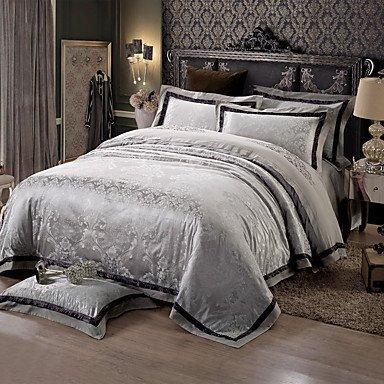 AIURLIFE Negro y gris Queen King size cama funda nórdica de lujo seda algodón mezcla , queen