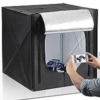 Amzdeal Photo Studio 50*50cm Portable Light Tent with LED Lighting 5500K Foldable Cube Professional Photography Box (White / Black / Gray / Orange Backdrops)