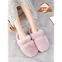 Nikai ladies slippers size 123 hard sole,Autumn and winter fur integrated cotton slippers, female wool plush men