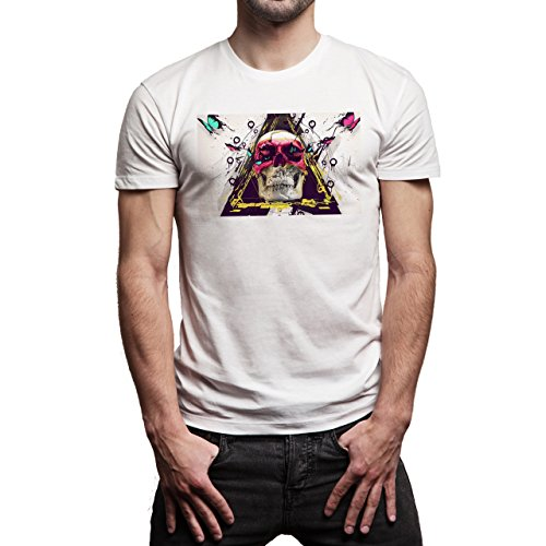 Skull Hipster Image Background Herren T-Shirt Weiß