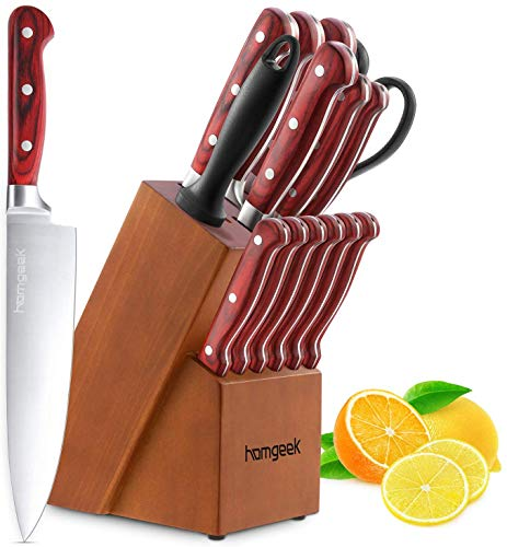 homgeek Set coltelli, Ceppo coltelli 15 Pezzi, coltelli da Cucina Tedesco X50Cr15 in Acciaio...
