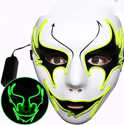 dbemalte Street Dance Pfeil leuchtendes Gesicht, Horror lustige LED Fluoreszierende grüne Festival Cool Cheek Veil Green ()