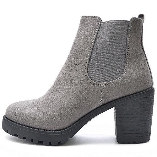 FLY 4 Chelsea Boots Plateau Stiefeletten in vielen Farben und Mustern (38, Grau SAMT)