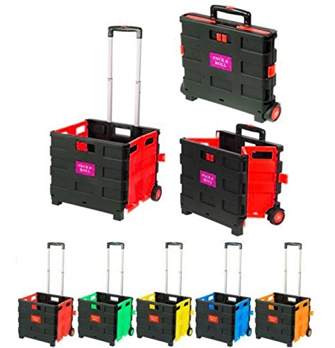 Einkaufstrolley Rot Einkaufswagen bis 35kg Transport Trolley Klappbar Transportwagen Klappbox Shopping Shopper Trolley Faltbox Aluminium Kunststoff