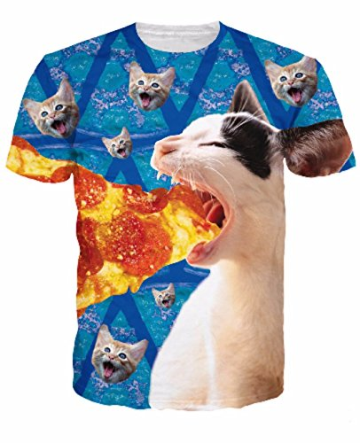 Men's 3D Killer Laser Kitty Printed Casual Tee Shirt 10
