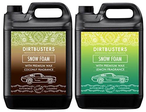 dirtbusters Auto Candy Schnee Foam Shampoo Reiniger mit High Gloss Wax Kokos und Zitrone Duft 5L für professionelle Reinigung & Fahrzeugaufbereitung -