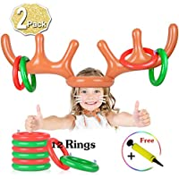 AniSqui 2 Set Inflatable Reindeer Antler Game, (2 Inflatable Antler, 12 Rings Reindeer Ring Toss) Inflatable Reindeer Antler Hat with Rings, Family Christmas Party Games