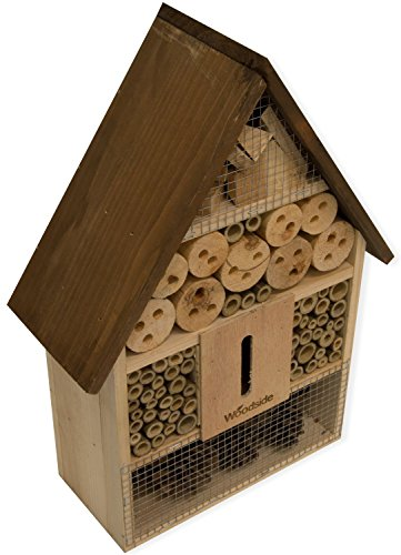 Woodside Wooden Insect & Bee House Natural Wood Bug Hotel Shelter Garden Nest Box Test