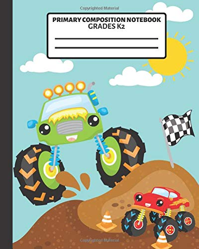 primary composition notebook: story paper journal with dashed midline and picture space school exercise book for boys (cool monster trucks)