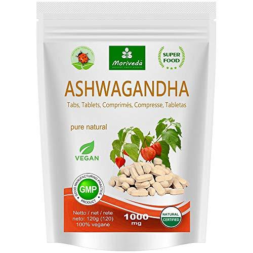 Ashwagandha Kapseln 600mg oder Tabletten 1000mg – reines Naturprodukt in Spitzenqualität – Schlafbeere, Winterkirsche, Indischer Ginseng (120 Tabs)