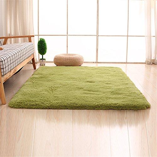 CAMAL Teppiche, Rechteck Waschbarer Seide Wolle Material Teppich für Wohnzimmer und Schlafzimmer (120cmX160cm, Gras-Grün) - Badezimmer Gras-teppich