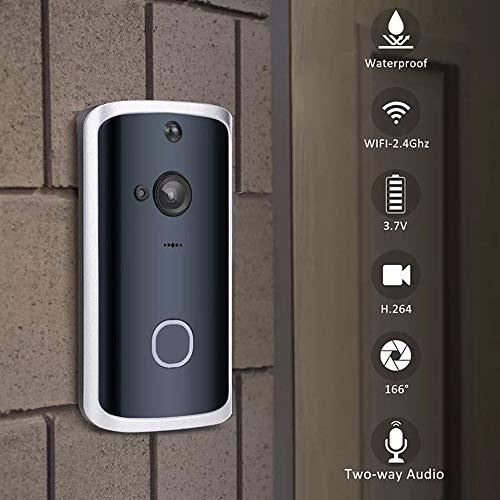 Long Distance-video (Wi-Fi-Video-Türklingel, Home Wireless Long Distance Calling Bell, wasserdichtes, schnurloses Doppelwand-Türklingel-Kit mit App-Fernbedienung für Ios/Android,2receivers)