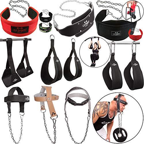 C.P. Sports Dip - Cintura per Allenamento Addominali, per Testa e Collo, Bodybuilding e Fitness, Crossfit, Sollevamento Pesi, Palestra, Attrezzatura Sportiva, Dip Gürtel Standard Rot