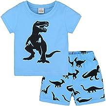 feiXIANG Ropa para niños pequeños Ropa para bebés niña niño niña niña de Manga Corta con Estampado de Dibujos Animados Camiseta Top + Pantalones Traje de ...