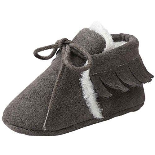 Babyschuh Longra Baby Mädchen Soft Sole Schneestiefel weiche Krippe Schuhe Lauflernschuhe Kleinkind Stiefel (0-18 Monate Baby) Dark Gray