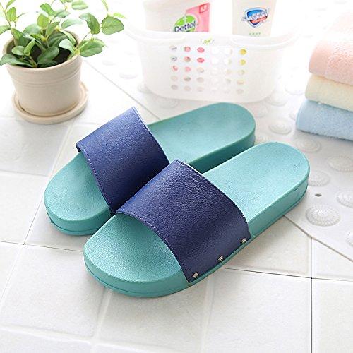 DogHaccd pantofole,In estate la spiaggia esterno femmina pantofole antiscivolo, grazioso stile Coreano, Minimalista bagno home estate coppie doccia pantofole Blu scuro2
