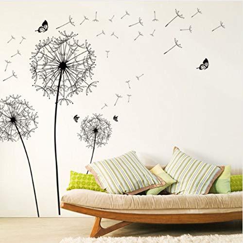 Wandaufkleber löwenzahn blume schmetterling schwarz zu hause wohnzimmer schlafzimmer hintergrund diy dekorative möbelkunst wandbild abnehmbar wasserdicht