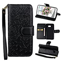 Galaxy Note 5 Case, Samsung Galaxy Note 5 Flip Wallet Case, Rosa Schleife PU Leather Rose Flower Embossed Floral Flip Folio Magnetic Closure Protective Shell Cases Covers for Samsung Galaxy Note 5 with ID & Credit Card Slots and Kickstand Stand Function