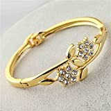 18k Yellow Gold Plated Austrian Crystal Flower Bracelet Bangle For Women And Girls 02