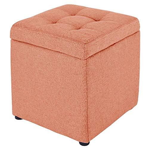 YIDIAN-Ottoman Hocker, 18hgr Cube Hocker Mit Aufbewahrungsbox Abnehmbarer Deckel Leinen Gepolsterter Sitz (Farbe : Orange) -