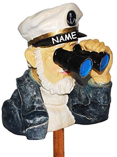 Unbekannt Spanner am Gartenzaun  - Kapitän / Seefahrer mit Fernglas - incl. Name - aus Kunstharz - große XL Figur - Maritim - Schiffsreise Kreuzfahrt / Kreuzfahrtsch..