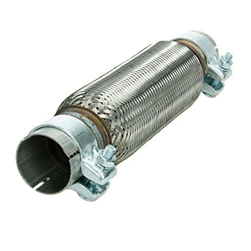 ECD Germany Flex Tubo de Acero Inoxidable 55 x 250 mm con 2 Abrazaderas