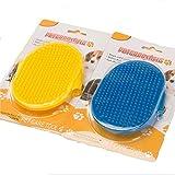 Fully 2 Stücke Haustier Hunde Baden Fellpflegehandschuh Bürste Tierhaarentferner Massagehandschuh Farbe zufällig