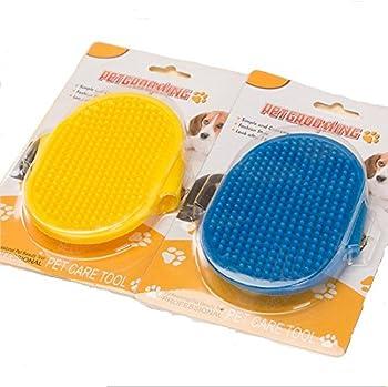 Fully 2morceaux Animal Chien Baden Toilettage Gant Brosse les poils d'animaux Gant de massage couleur aléatoire