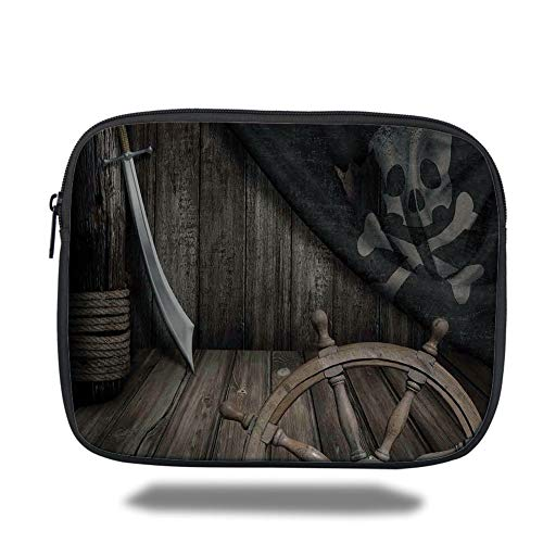 Tablet Bag for Ipad air 2/3/4/mini 9.7 inch,Ships Wheel Decor,Steering Wheel with Old Jolly Roger Flag and Saber in Pirates Ship Control Room Art Print,Brown,Bag (Pirate Room Decor)