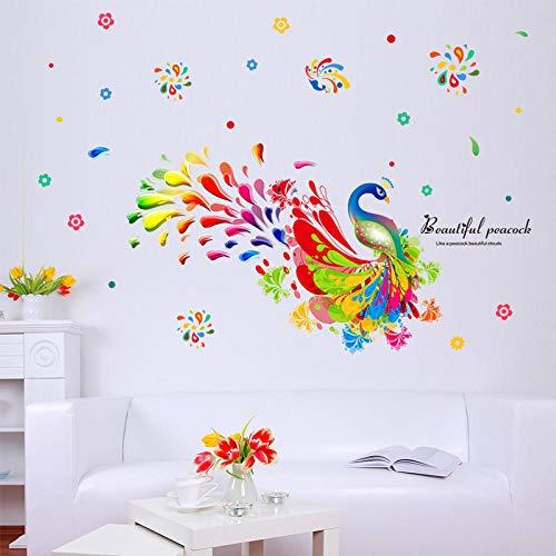 Zbzmm Bunte Pfau Wandaufkleber Wohnzimmer Schlafzimmer Kindergarten Cartoon Tier Wandtattoos Abnehmbare Art Murals Wallpaper Decor (Wallpaper Grenzen Für Mädchen)