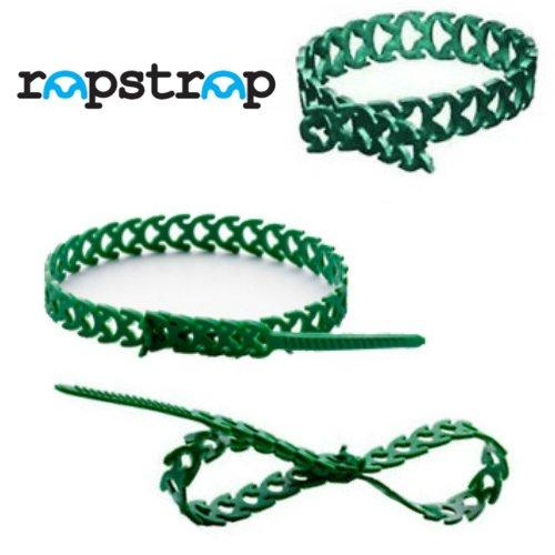 Rapstrap réutilisables en caoutchouc serre-câbles Attaches 10 mm x 300 mm pour plantes - Vert - Lot de 12